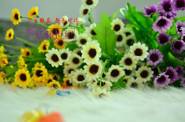 top popular 40CM 15.8inch Artificial silk flower Simulation Gerbera Daisy fake Sunflower Bush Bouquet for christmas ornaments wedding table decor 2019