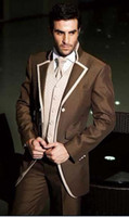Wholesale Chocolate Tuxedos - Custom Made Chocolate Tuxedos Groomsmen Notch Lapel Men Suits(Jacket+Pants+Tie+Waistcoat)G798