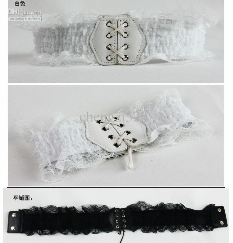 Correas de damas cinturones de encaje blanco y negro de elástico cinturones de mujer
