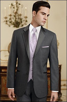 Wholesale Wedding Suit Grey Waistcoat - Custom Made Slim Fit Groom Tuxedos Charcoal Grey Groomsmen Notch Satin Lapel Men Wedding Dinner Suits(Jacket+Pants+Tie+Waistcoat)G813