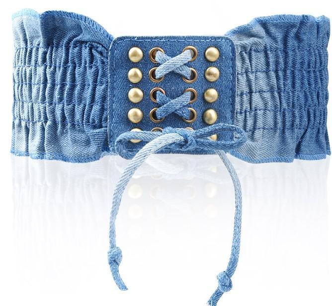 Lady Cinture Retro Denim Tessuti signora Rivet Belt fasciatura elastica