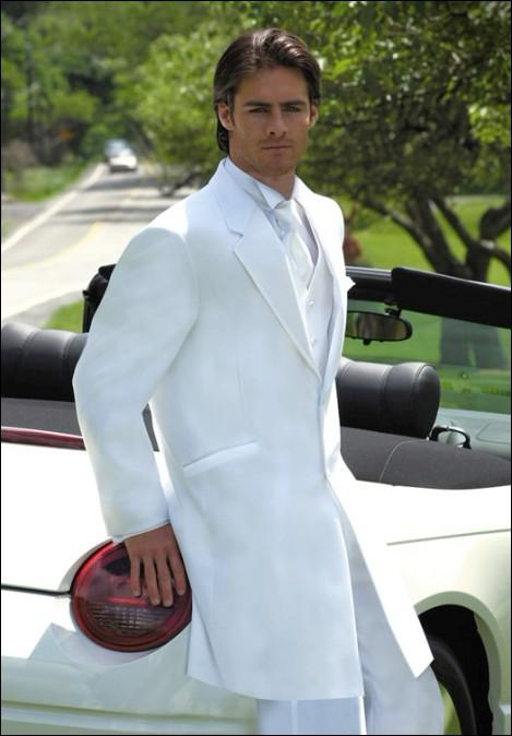 Extra Long White Groom Tuxedos Groomsmen 2 Buttons Men