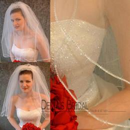 Wholesale vintage veils - 2016 Vintage Ivory Elbow Length Veil Two Layer Beaded Edge Wedding Veils Bridal Veil Tullle DBV22