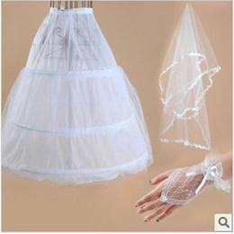 Wholesale Wedding Veils Gloves - set9 Free shipping Wedding Bridal gloves layer veils petticoat Wedding Dress Accessories three-set