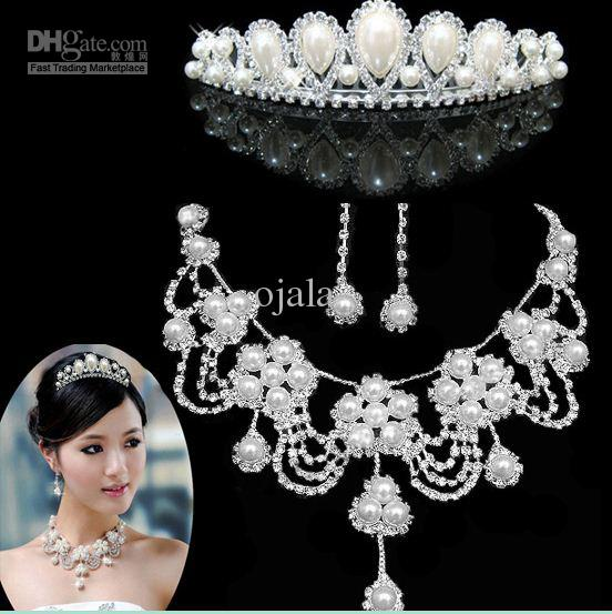 J3 Wedding Bridal Jewelries Necklace Earrings Crown Wedding