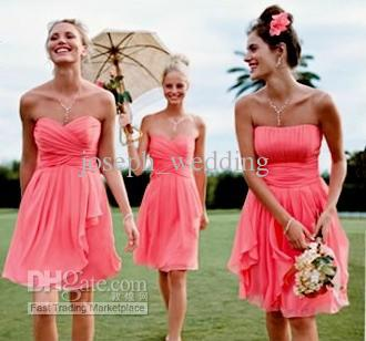 Fashion wedding party gowns Sweetheart Pleated Knee length Chiffon Short Pink Bridesmaid Dresses hot sale vestidos de festa