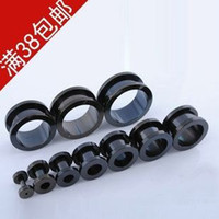 Wholesale Screw Piercing - 100pcs lot mix 8 size black stainless steel screw ear plug flesh tunnel body jewelry piercing