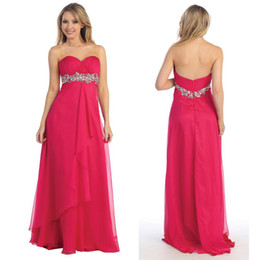 Wholesale Straight Chiffon Red Dresses - 2016 Hot Sale!! Discount Strapless Pleat Beads Sweetheart Straight Party Dress Prom Dresses DH4581