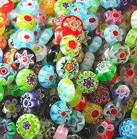 Wholesale 8mm Glass Heart Beads - MILLEFIORI LAMPWORK GLASS BEADS Mix Colors 8MM 360pcs lot