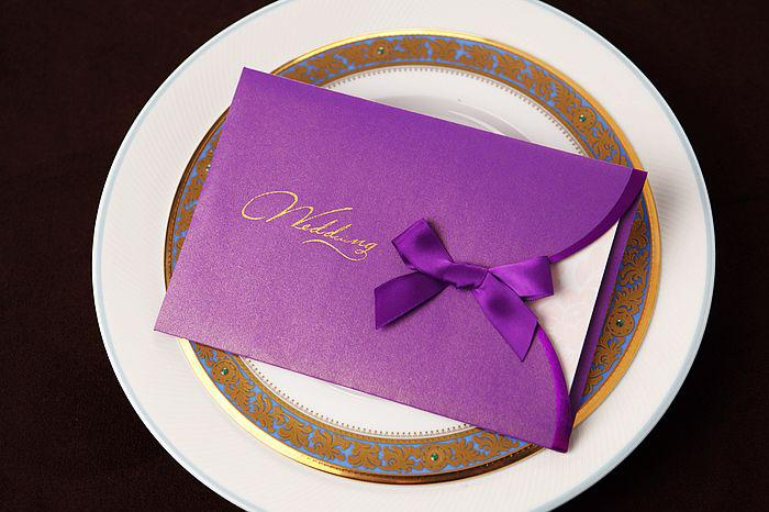 Wedding Invitations With Purple Ribbon: CW2031 Purple Ribbon Invitations Cards Wedding Invitations