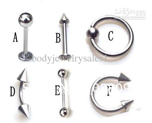 wholesales mix 6 stylebody piercing jewelry nose ring labret ring