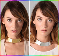 Wholesale Silver Hoop Choker - Silver Gold Plated Alloy Punk Style Choker Collar Hoop Necklace 2Colors Mix Womens Jewelry