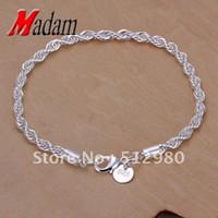 nikel gümüşü toptan satış-GSSPH207 Ücretsiz kargo, toptan, 925 gümüş twisted bilezik, moda takı, Nikel ücretsiz, antialler