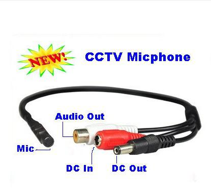 Mini Mic Voice Audio Microphone RCA Output Cable for CCTV Security Camera DVRs Mic 5pcs/lot