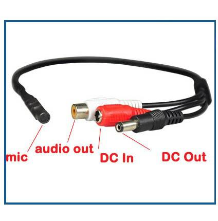 Mini Mic Voice Audio Microphone RCA Output Cable for CCTV Security Camera DVRs Mic 100pcs/lot