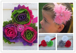 "Wholesale Triple Shabby Headbands - baby Elastic Headband with Triple 2.5"" Shabby Frayed Flowers 16pcs lot free shipping"
