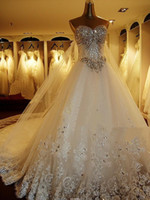 Wholesale 2014 Newest Luxury bride dress Sweetheart Swarovski crystals Applique Bead cathedral wedding dresses