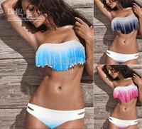 Wholesale Sexy Lady Girl Boho Bikini - New 3color SEXY girl&lady Padded boho fringe top strapless dolly bikini Swimwear 201302