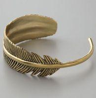 Wholesale brass bracelets sale for sale - Group buy NEW Monserat De Lucca Brass Feather Bracelet MOQ Hot sale of a vintage leaf bracelet