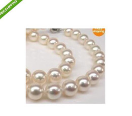 """Wholesale Genuine Pearl Pendant Gold Chain - Genuine AAA 9-10MM AKOYA WHITE PEARL NECKLACE 18"""" 14K GOLD CLASP"""