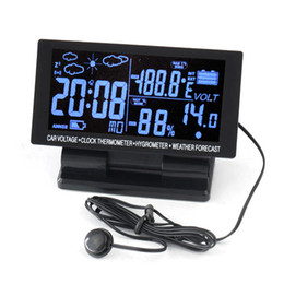 Wholesale Car Clock Thermometer Voltage - 4in1 Car IN OUT Thermometer Hygrometer Voltage Meter Alarm Clock Weather Forecast Temperature Humidity Voltmeter LCD Display Free Shipping