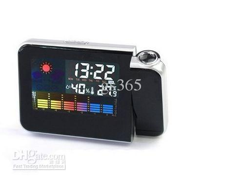 LCD Backlight Weather Station Projection Alarm Clock+ Calender+ Thermometer+Alarm And Snooze Function Color Display