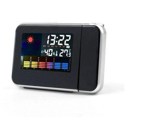 LCD Backlight Weather Station Projection Alarm Clock+ Calender+ Thermometer+Alarm And Snooze Function Color Display Free Shipping