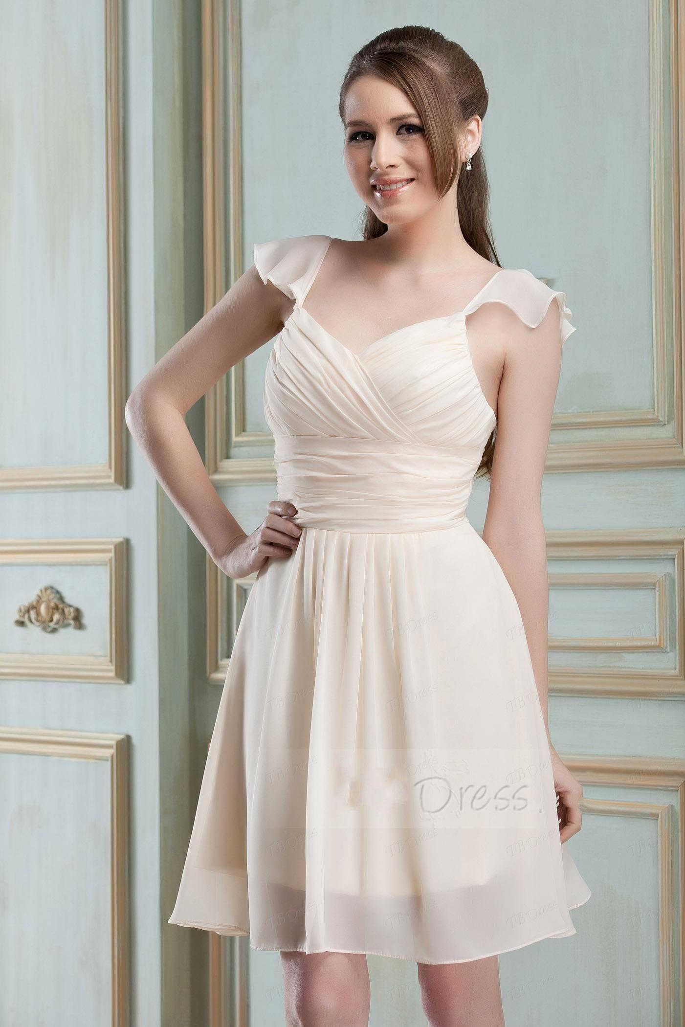 2013 Personalizado Encantador Ruched A-Line Correias Curtas / Mini Nadya's Vestido Da Dama De Honra