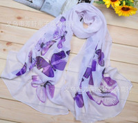 Wholesale Butterfly Pattern Scarves - New Style Scarf Sarongs 10 Pcs Lot Brisk Butterfly Pattern Scarves Chiffon Printed Scarfs 10 Colors