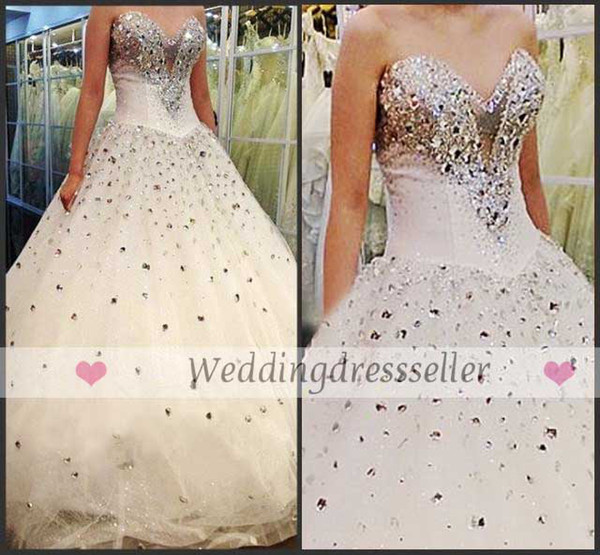 2016 Lace Up Rhinestone Monarch Train Wedding Gowns Beaded Princess Bling Dresses