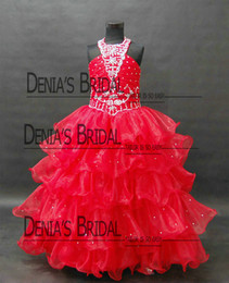 Wholesale Little Girl Princess Photos - 2016 Real Kids Pageant Dresses Little Girls Party Gowns for Seven Years Old Halter Princess Birthday Party Gowns