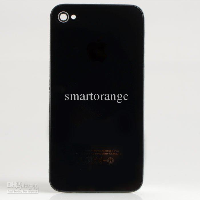 Tampa de porta de vidro traseira da carcaça da bateria da substituição branca do preto para o iphone 4 4G nenhum logotipo