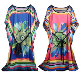 Wholesale Casual Dress For Large Women - Ice silk dress large size for women in chrysanthemum flower bat sleeve waist ice silk plus size dress