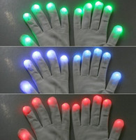 Wholesale White Dancing Gloves - Fashion Christmas party Novelty 7 Mode LED Gloves Rave Light Flashing Finger Lighting Dancing Glow Mittens Magic white black for choice