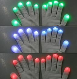Wholesale White Rave Glove Lights - Fashion Christmas party Novelty 7 Mode LED Gloves Rave Light Flashing Finger Lighting Dancing Glow Mittens Magic white black for choice