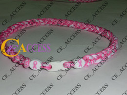 Wholesale Necklace Breast - Tornado Titanium breast cancer titanium necklaces pink white can customize necklaces