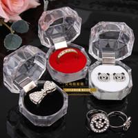 şeffaf akrilik fişler toptan satış-20 adet Yüzük Kutusu Mücevher temizle Akrilik ucuz Kutuları düğün hediye kutusu halka damızlık toz fiş kutusu