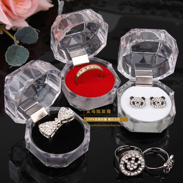 best selling 20pcs Rings Box Jewelry clear Acrylic cheap Boxes wedding gift box ring stud dust plug box