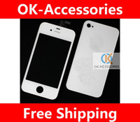 Wholesale Original Iphone 4s Back Cover - 100% original LCD+touch screen digitizer+back cover for iphone 4s 4gs black&white complete 1pcs lot