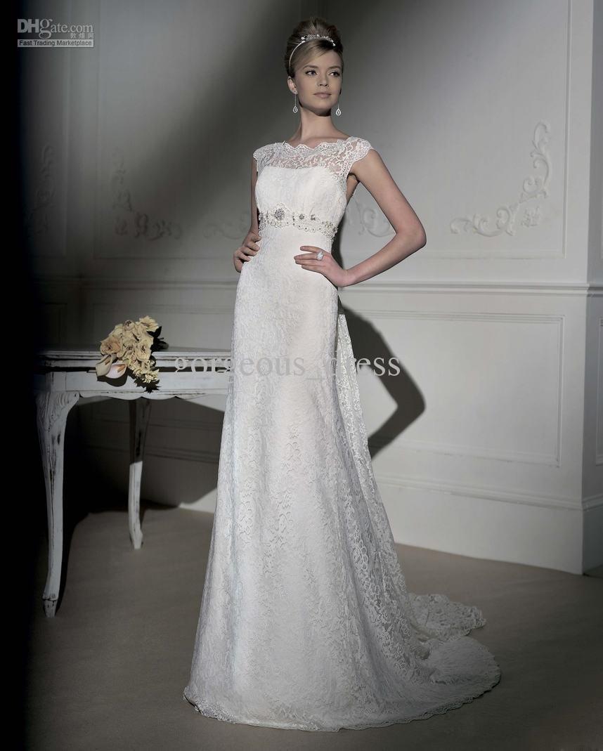 Discount 2013 Newest Gorgeous Empire Bateau Neckline Lace