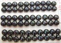 brinco de pérola venda por atacado-8PE01918 30 pares 8mm Preto Pérolas De Água Doce para brincos meio buraco 60 PC