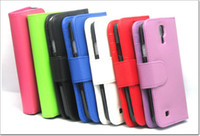 Wholesale S4 Book - Flip Wallet Case Cover For Samsung Galaxy S4 i9500 Leather Book Flip Pouch Skin 10pcs 20pcs