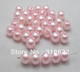 Wholesale Wholesale Loose Plastic Beads - Free Shipping+ 8mm Pink ABS Round Plastic Imitation Pearl Loose beads for Necklace Bracelet DIY Accessory