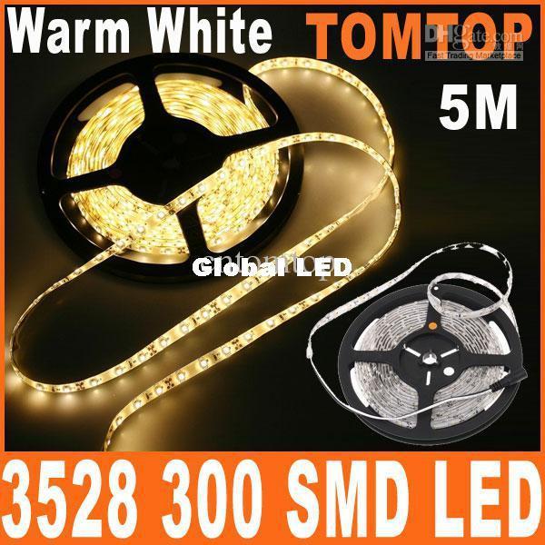 Lumière de bande blanche chaude de LED 5M / rouleau Époxyde imperméable à l'eau a mené la ficelle SMD 3528 300 LED d'éclairage de bande blanc bleu rouge vert connecteur simple de couleur