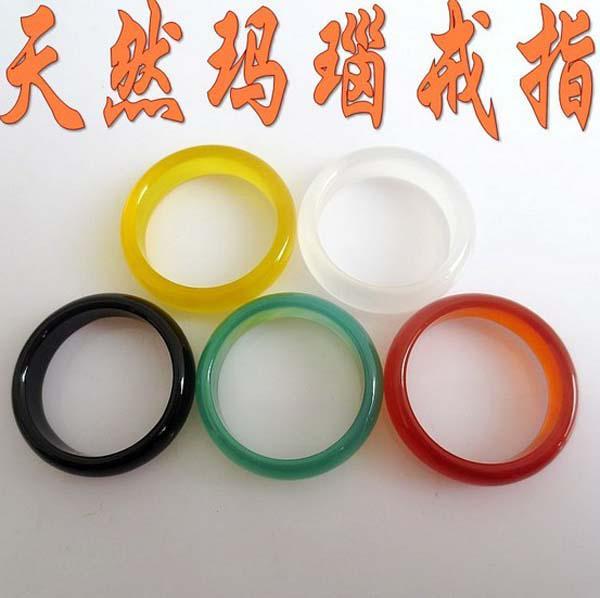 New Beautiful Smooth Multi-Colored Round Solid Giada / Agata Gem Stone Band Rings 6 MM - Ottimo rapporto!
