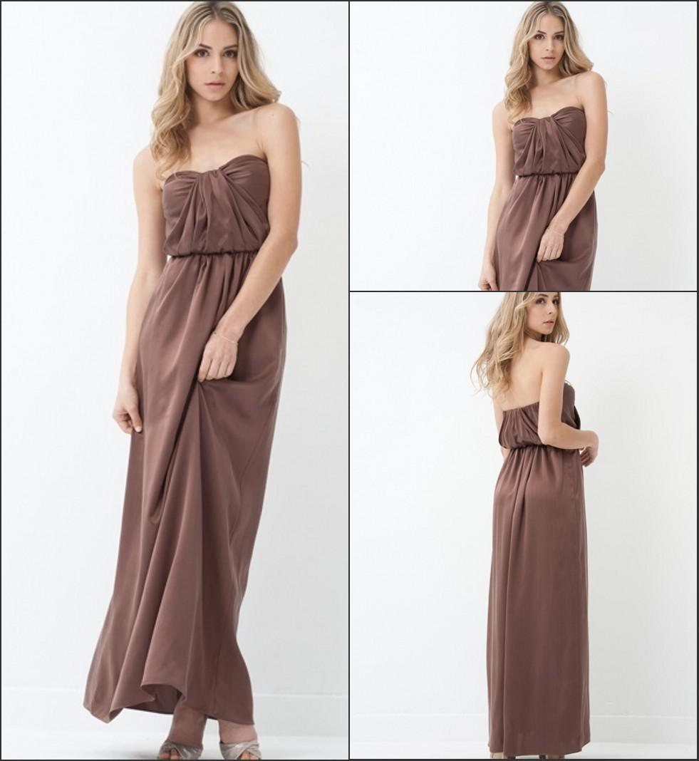 Elegant strapless pleated maxi length charmeuse long brown elegant strapless pleated maxi length charmeuse long brown bridesmaid dress deep purple bridesmaid dresses duck egg blue bridesmaid dresses from ombrellifo Gallery