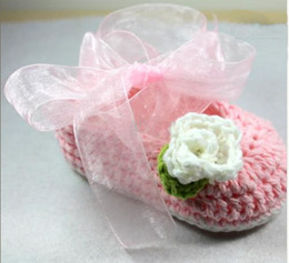 Wholesale Crochet Baby Flower Ballet Shoes - 2016 new 8 colors ! Crochet baby girl shoes ballet shoes Baptism Shoes flower leaves ribbon 0-12M cotton yarn custom 5pairs