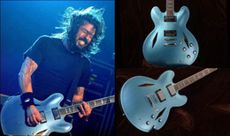 Wholesale Electric Guitar Blue Semi - Wholesale and Retail Custom DG335 Dave Grohl signature blue Metal Semi Hollow Jazz Electric Guitar