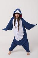 Wholesale Shark Onesie Pajamas - New Kigurumi Pajamas Anime Shark Cosplay Costume unisex Adult Onesie Hot Dress