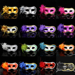 Wholesale Party Halloween Games - 052 multicolor sexy women halloween masquerade party mask game show festival supplies side lilies masks free shipping promotion